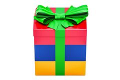 Gift box with flag of Armenia, holiday concept. 3D rendering. Isolated on white background Royalty Free Stock Photos