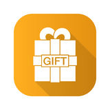 Gift box flat design long shadow icon. Vector silhouette symbol. Royalty Free Stock Photography