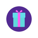 Gift box flat icon. Round colorful button, Present circular vector sign, logo illustration. Royalty Free Stock Photos