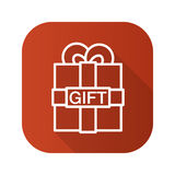 Gift box flat linear long shadow icon. Vector line symbol. Royalty Free Stock Photography
