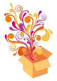 Gift box with floral design,  Stock Images