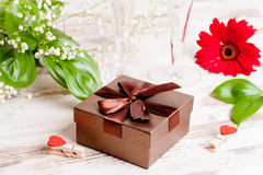 Gift box, flower and hearts for Valentine's Day. Close up, horizontal Stock Image