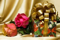 Gift box with flowers Stock Image