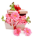 Gift box with flowers. Stock Images