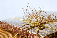 Gift box and flowers Royalty Free Stock Images