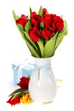 Gift box with flowers Stock Images