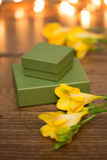 Gift box with flowers and evening lighting Stock Image