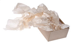 Gift Box with Flowing Tissue Paper Royalty Free Stock Photos