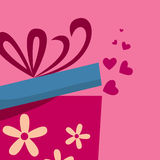 Gift box with fly hearts Stock Photography