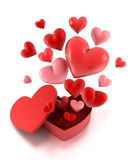 Gift box with fly hearts. Stock Photo
