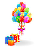 Gift box and flying balloons. Vector Royalty Free Stock Image