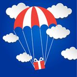 Gift box flying down from sky with parachute. Vector illustration Royalty Free Stock Photos