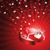 Gift Box with Flying Hearts Royalty Free Stock Photos