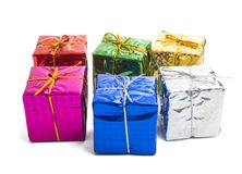 gift box in foil isolated stock photo