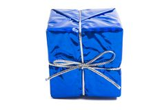 gift box in foil isolated royalty free stock photo