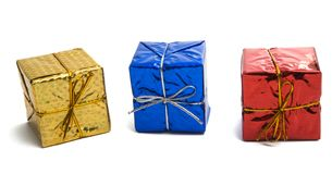 gift box in foil isolated stock image