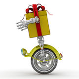 Gift box in the form of a robot on the wheel Stock Images