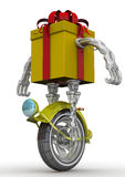 Gift box in the form of a robot on the wheel Stock Photo