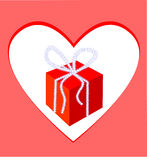Gift-box and frame-heart. Royalty Free Stock Photo