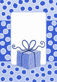 Gift box frame snowing invitation card Royalty Free Stock Photos