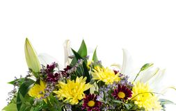 Gift box with fresh lily flowers and chrysanthemum isolated on w. Hite background royalty free stock photos