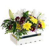 Gift box with fresh lily flowers and chrysanthemum isolated on w. Hite background stock image