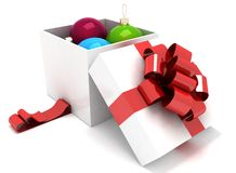 Gift box full of Christmas balls. 3d illustration on a white background Stock Photo