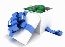 Gift box full of Christmas balls. 3d illustration on a white background Royalty Free Stock Photography
