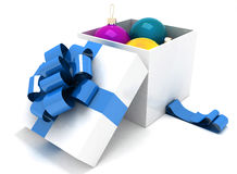 Gift box full of Christmas balls Stock Photography