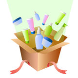 Gift box full of cosmetics Stock Image