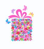 Gift box full of flowers. Illustration of a colorful gift box Royalty Free Stock Images
