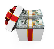 Gift Box Full of Money Royalty Free Stock Photography