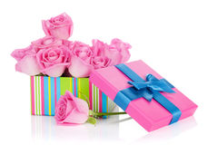 Gift box full of pink roses Royalty Free Stock Image