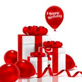Gift box. With red bow and bunch of pink transparent balloons Royalty Free Stock Image