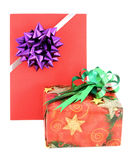 Gift box and gift card with ribbin bow. On white background Royalty Free Stock Image