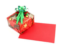 Gift box and gift card with ribbon bow Royalty Free Stock Photography