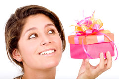 Gift box girl Royalty Free Stock Image
