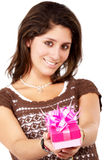 Gift box girl Stock Image
