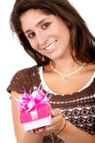 Gift box girl Stock Photos