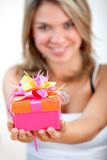 Gift box girl Stock Photography