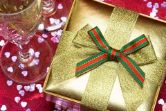 Gift box with glasses Royalty Free Stock Images