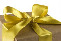 Gift Box with Gold Bow Royalty Free Stock Photography