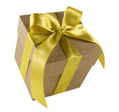 Gift Box with Gold Bow Stock Photo