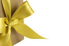 Gift Box with Gold Bow Royalty Free Stock Images