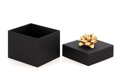 Gift Box and Gold Bow Royalty Free Stock Photography