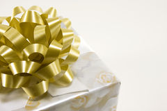 Gift Box with Gold Bow Stock Image