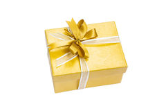 Gift Box Gold Color. Isolated On White Background Royalty Free Stock Images