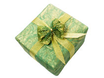 Gift box with gold ribbon. Isolated on a white background close-up Royalty Free Stock Photography
