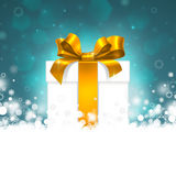 Gift box with gold ribbon Royalty Free Stock Images