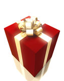 Gift box with gold ribbon Stock Photography